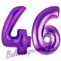 Luftballons aus Folie Zahl 46, Lila, 100 cm mit Helium zum 46. Geburtstag