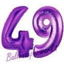 Luftballons aus Folie Zahl 49, Lila, 100 cm mit Helium zum 49. Geburtstag