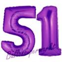 Luftballons aus Folie Zahl 51, Lila, 100 cm mit Helium zum 51. Geburtstag