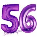 Luftballons aus Folie Zahl 56, Lila, 100 cm mit Helium zum 56. Geburtstag