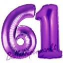 Luftballons aus Folie Zahl 61, Lila, 100 cm mit Helium zum 61. Geburtstag
