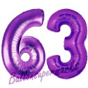 Luftballons aus Folie Zahl 63, Lila, 100 cm mit Helium zum 63. Geburtstag