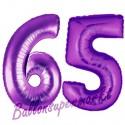 Luftballons aus Folie Zahl 65, Lila, 100 cm mit Helium zum 65. Geburtstag