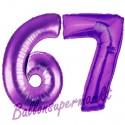 Luftballons aus Folie Zahl 67, Lila, 100 cm mit Helium zum 67. Geburtstag