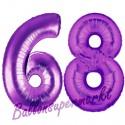 Luftballons aus Folie Zahl 68, Lila, 100 cm mit Helium zum 68. Geburtstag
