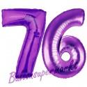 Luftballons aus Folie Zahl 76, Lila, 100 cm mit Helium zum 76. Geburtstag