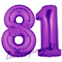Luftballons aus Folie Zahl 81, Lila, 100 cm mit Helium zum 81. Geburtstag