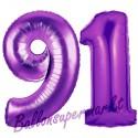 Luftballons aus Folie Zahl 91, Lila, 100 cm mit Helium zum 91. Geburtstag