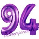 Luftballons aus Folie Zahl 94, Lila, 100 cm mit Helium zum 94. Geburtstag