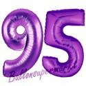 Luftballons aus Folie Zahl 95, Lila, 100 cm mit Helium zum 95. Geburtstag