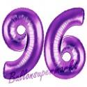 Luftballons aus Folie Zahl 96, Lila, 100 cm mit Helium zum 96. Geburtstag