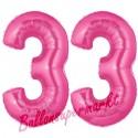 Luftballons aus Folie Zahl 33, Pink, 100 cm mit Helium zum 33. Geburtstag