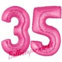 Luftballons aus Folie Zahl 35, Pink, 100 cm mit Helium zum 35. Geburtstag