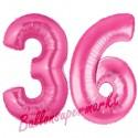 Luftballons aus Folie Zahl 36, Pink, 100 cm mit Helium zum 36. Geburtstag