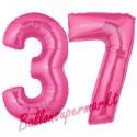 Luftballons aus Folie Zahl 37, Pink, 100 cm mit Helium zum 37. Geburtstag