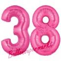 Luftballons aus Folie Zahl 38, Pink, 100 cm mit Helium zum 38. Geburtstag