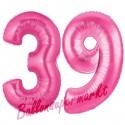 Luftballons aus Folie Zahl 39, Pink, 100 cm mit Helium zum 39. Geburtstag