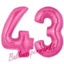 Luftballons aus Folie Zahl 43, Pink, 100 cm mit Helium zum 43. Geburtstag