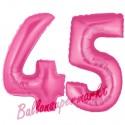 Luftballons aus Folie Zahl 45, Pink, 100 cm mit Helium zum 45. Geburtstag