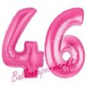 Luftballons aus Folie Zahl 46, Pink, 100 cm mit Helium zum 46. Geburtstag