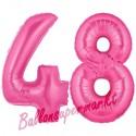 Luftballons aus Folie Zahl 48, Pink, 100 cm mit Helium zum 48. Geburtstag