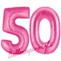 Luftballons aus Folie Zahl 50, Pink, 100 cm mit Helium zum 50. Geburtstag