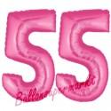 Luftballons aus Folie Zahl 55, Pink, 100 cm mit Helium zum 55. Geburtstag