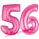 Luftballons aus Folie Zahl 56, Pink, 100 cm mit Helium zum 56. Geburtstag