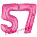 Luftballons aus Folie Zahl 57, Pink, 100 cm mit Helium zum 57. Geburtstag