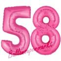 Luftballons aus Folie Zahl 58, Pink, 100 cm mit Helium zum 58. Geburtstag