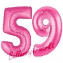 Luftballons aus Folie Zahl 59, Pink, 100 cm mit Helium zum 59. Geburtstag