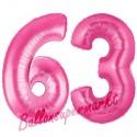 Luftballons aus Folie Zahl 63, Pink, 100 cm mit Helium zum 63. Geburtstag