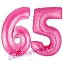 Luftballons aus Folie Zahl 65, Pink, 100 cm mit Helium zum 65. Geburtstag