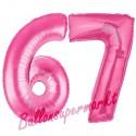 Luftballons aus Folie Zahl 67, Pink, 100 cm mit Helium zum 67. Geburtstag