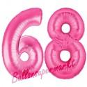 Luftballons aus Folie Zahl 68, Pink, 100 cm mit Helium zum 68. Geburtstag