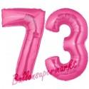 Luftballons aus Folie Zahl 73, Pink, 100 cm mit Helium zum 73. Geburtstag
