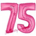 Luftballons aus Folie Zahl 75, Pink, 100 cm mit Helium zum 75. Geburtstag