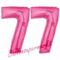 Luftballons aus Folie Zahl 77, Pink, 100 cm mit Helium zum 77. Geburtstag