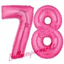 Luftballons aus Folie Zahl 78, Pink, 100 cm mit Helium zum 78. Geburtstag