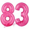 Luftballons aus Folie Zahl 83, Pink, 100 cm mit Helium zum 83. Geburtstag