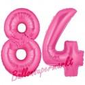 Luftballons aus Folie Zahl 84, Pink, 100 cm mit Helium zum 84. Geburtstag