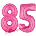 Luftballons aus Folie Zahl 85, Pink, 100 cm mit Helium zum 85. Geburtstag