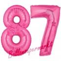 Luftballons aus Folie Zahl 87, Pink, 100 cm mit Helium zum 87. Geburtstag