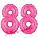 Luftballons aus Folie Zahl 88, Pink, 100 cm mit Helium zum 88. Geburtstag