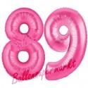 Luftballons aus Folie Zahl 89, Pink, 100 cm mit Helium zum 89. Geburtstag