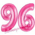 Luftballons aus Folie Zahl 96, Pink, 100 cm mit Helium zum 96. Geburtstag