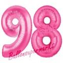 Luftballons aus Folie Zahl 98, Pink, 100 cm mit Helium zum 98. Geburtstag