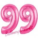 Luftballons aus Folie Zahl 99, Pink, 100 cm mit Helium zum 99. Geburtstag
