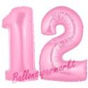 Luftballons aus Folie Zahl 12, Rosa, 100 cm mit Helium zum 12. Geburtstag
