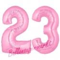 Luftballons aus Folie Zahl 23, Rosa, 100 cm mit Helium zum 23. Geburtstag